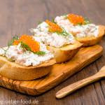 Bruschette mit Räucherlachs und Keta-Kaviar
